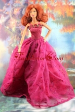 Lovely Embroidery For Hot Pink Quinceanera Doll Dress Babidf203for