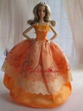 Lovely Handmade Orange Beading Ball Gown Quinceanera Doll Dress Babidf056for