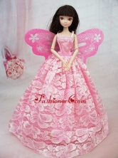 Lovely Handmade Pink Lace To Quinceanera Doll Dress Babidf061for