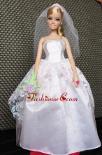 Lovely Handmade White Quinceanera Doll Wedding Dress Babidf043for