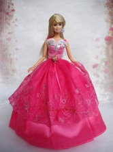 Lovely Hot Pink Ball Gown Taffeta And Organza Quinceanera Doll Dress Babidf098for