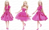 Lovely Princess Beading Sequin Hot Pink Gown For Quinceanera Doll Babidf372for