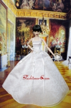 Lovely Wedding Dress For Quinceanera Doll With Hand Made Flowers Babidf405for