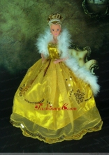 Luxurious Appliques Yellow Strapless Party Clothes Fashion Dress For Noble Quinceanera Babidf278for