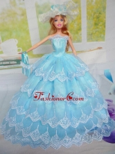 Luxurious Baby Blue Party Clothes For Noble Quinceanera Doll Tulle Babidf291for