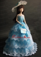 Luxurious Baby Blue Party Dress With Organza Made To Fit The Quinceanera Doll Babidf355for