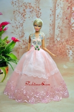 Luxurious Baby Pink Appliques With Flooe-length Wedding Dress For Quinceanera Doll Babidf235for