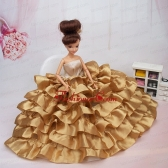 Luxurious Ball Gown Asymmetrical Gold Ruffled Layeres Clothes Party Fashion Dress For Noble Quinceanera Babidf389for