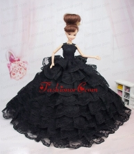 Luxurious Black Lace With Ruffled Layeres Party Dress For Quinceanera Doll Babidf383for