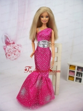 Luxurious Mermaid Asymmetrical Hot Pink Beaded Over Skirt Party Clothes Fashion Dress For Noble Quinceanera Babidf387for