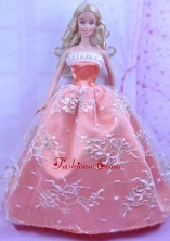 Luxurious Orange Dress With Appliques Made To Fit The Quinceanera Doll Babidf172for