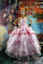 Luxurious Pink Gown With Ruffled Layers Lace For Quinceanera Doll Babidf177for