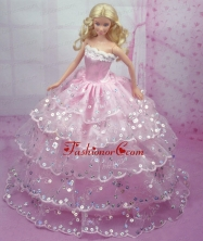 Luxurious Pink Gown With Sequins And Embroidery Made To Fit The Quinceanera Doll Babidf157for