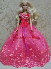 Luxurious Red Ball Gown With Hand Made Flowers And Appliques Party Clothes Fashion Dress For Noble Babidf074forquinceanera
