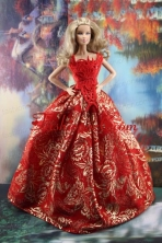 Luxurious Red Gown With Embroidery Made To Fit The Quinceanera Dress Babidf180for