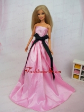 Luxurious Rose Pink Sash With Party Dress For Quinceanera Doll Babidf384for