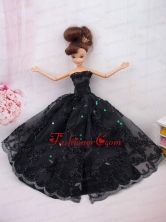 Modest Ball Gown Lace Black Party Clothes Quinceanera Doll Dress Babidf096for
