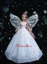 New Amazing White Handmade Party Dress Quinceanera Clothes Gown For Quinceanera Doll Babidf247for