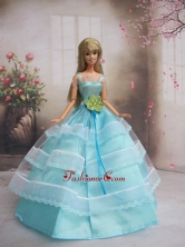 New Baby Blue Handmade With Sash Party Dress Quinceanera Clothes Gown For Quinceanera Doll Babidf237for