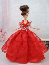 New Beautiful Ball Gown Red Lace Handmade Party Clothes Fashion Dress For Noble Quinceanera Babidf082for