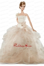 New Beautiful Handmade Champagne Organza Party Dress For Noble Quinceanera Babidf349for