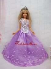 New Beautiful Princess Lilac Lace Handmade Party Clothes Fashion Dress For Noble Quinceanera Babidf081for