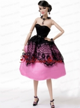 New Beautiful Rose Pink Handmade Party Clothes Fashion Dress For Noble Quinceanera Babidf344for