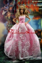 New Embroidery Fashion Princess Pink Dress Gown For Quinceanera Doll Babidf200for