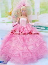 New Fashion Ball Gown Pink Dress Gown For Quinceanera Doll Babidf045for