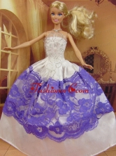 New Fashion Ball Gown White And Purple Dress Gown For Quinceanera Doll Babidf055for