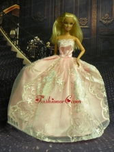 New Fashion Princess Baby Pink Dress Gown For Quinceanera Doll Babidf265for
