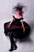 New Fashion Princess Black Dress Gown For Quinceanera Doll Babidf059for
