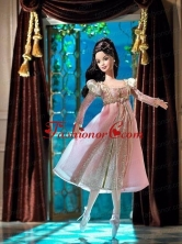 New Fashion Princess Pink Dress With Long Sleeves Gown For Quinceanera Doll Babidf034for