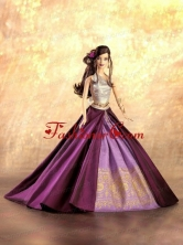 New Fashion Princess Purple Dress Gown For Quinceanera Doll Babidf032for