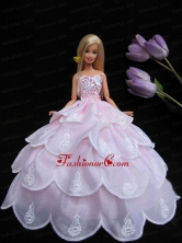New Ruffled Layeres Baby Pink Handmade Summer Wear Dress Clothes Gown For Quinceanera Doll Babidf245for