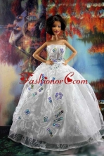 Perfect Embroidery And Sequin For White Holiday Dress To Quinceanera Doll Babidf194for