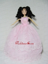 Perfect Pink Gown With Embroidery Dress For Quinceanera Doll Babidf336for