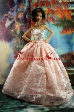 Perfect Pink Princess Dress With Lace For Quinceanera Doll Babidf175for