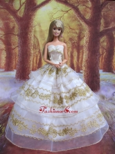 Perfect Wedding Clothes Embroidery Ball Gown Gown For Quinceanera Doll Babidf103for