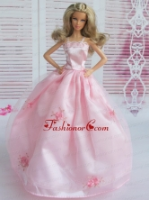 Pink Embroidery Ball Gown Taffeta And Organza Quinceanera Doll Dress Babidf110for