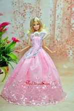 Pink Lovely Party Dress For Quinceanera Doll Dress With Embroidery Babidf232for