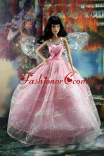 Pink Organza Ball Gown Made To Fit The Quinceanera Doll Babidf198for