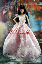 Pink And White Lace Over Skirt To Quinceanera Doll Dress Babidf191for