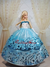 Popular Ball Gown Party Clothes White And Blue Quinceanera Doll Dress Babidf378for