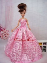 Popular Ball Gown Pink Quinceanera Doll Dress Babidf095for
