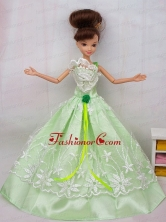 Popular Princess Apple Green Lace And Hand Made Flower Party Dress For Quinceanera Doll Babidf076for