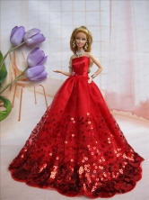 Popular Strapless Red Accents And Sequins Made To Fit The Quinceanera Doll Babidf243for