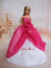 Pretty Ball Gown Dress For Noble Quinceanera With Hot Pink And Hand Made Flowers Babidf216for