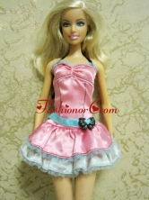 Pretty Bow Short Pink Quinceanera Doll Dress Babidf123for