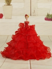 Pretty Bowknot Organza Quinceanera Doll Dress In Red Quinceanera008for